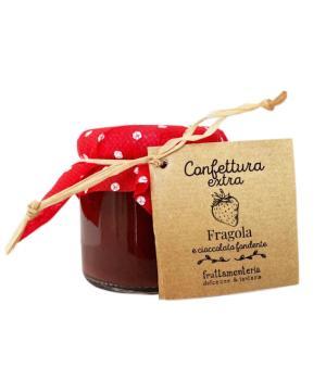 FRAGOLE e cioccolato fondente Fruttamenteria confettura extra frutta italiana