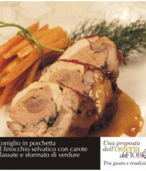 Coniglio in porchetta al finocchio selvatico con carote glassate e sformato di verdure