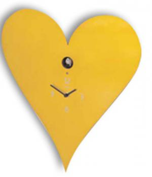 CUORE giallo Orologio cucu a parete Meridiana