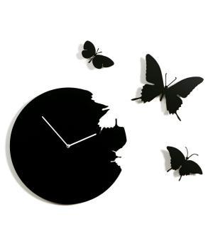 BUTTERFLY nero Domeniconi Orologio a parete + kit 3 farfalle
