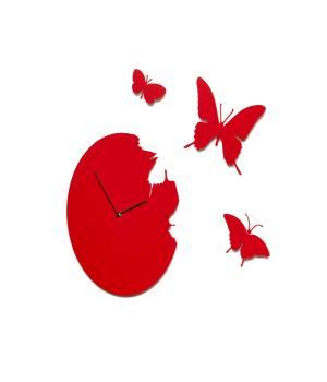 BUTTERFLY rot Wanduhr + 3 Schmetterlinge italien Domeniconi