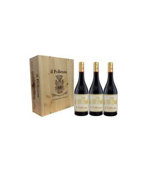 3 bottiglie il POLLENZA vino Marche Rosso IGT Confezione in legno
