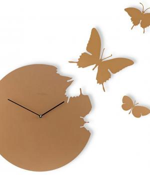 BUTTERFLY color tortora Orologio da parete e 3 farfalle