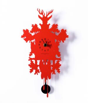 MIGNON rosso Piccolo orologio con pendolo design contemporaneo