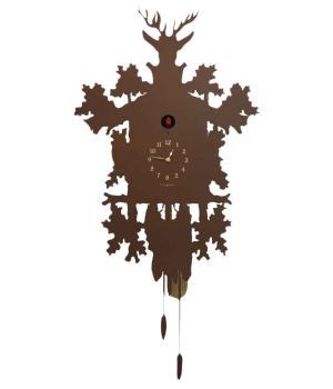 CUCU RUST Kuckucksuhr mit Rosteffekt lackiert Metall Designobjekt