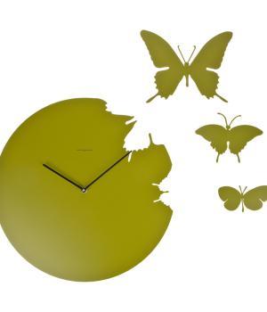 BUTTERFLY verde duchamp Orologio a parete + 3 farfalle