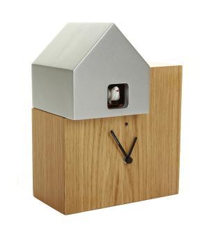 ETTORE oak / aluminium Cuckoo Wall/Table Clock New