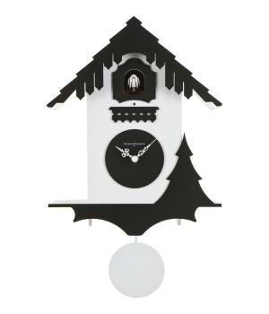 CHALET bianco / nero Orologio a forma casetta Svizzera