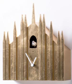 DUOMO foglia oro Originale orologio a cucu da appoggio e a parete