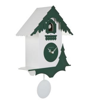 CHALET bianco e verde pino Orologio con cucu' e pendolo
