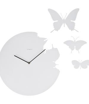 BUTTERFLY bianco Diamantini Domeniconi Orologio a parete + 3 farfalle