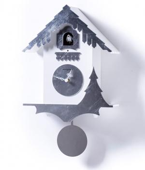 CHALET bianco e foglia argento lavorato a mano esclusivo orologio a cucu