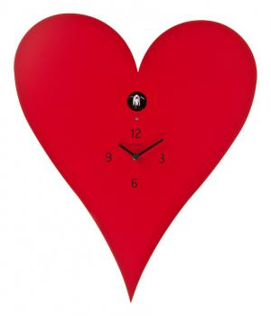 CUORE rotes Herz mit Kuckuck Meridiana Uhr