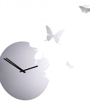 BUTTERFLY Spiegeleffekt Wanduhr runden + 3 Schmetterling