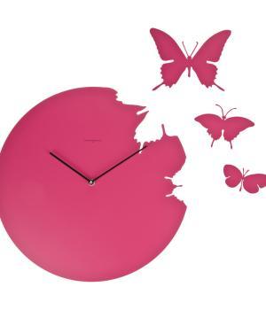 BUTTERFLY magenta Orologio a parete + 3 farfalle