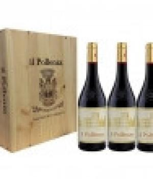 3 bottles il POLLENZA wine Marche Rosso IGT Wooden box