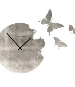 BUTTERFLY foglia argento Orologio con kit 3 farfalle