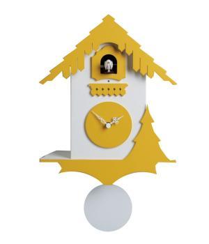 CHALET bianco e giallo Orologio cucu' e pendolo