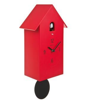 ZUBA rot Moderne Wanduhr mit Pendel und Kuckuck Meridiana