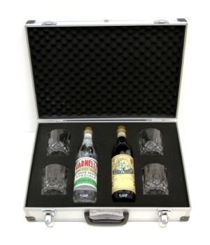 Valigetta regalo Varnelli e Sibilla con 4 bicchieri di cristallo RCR