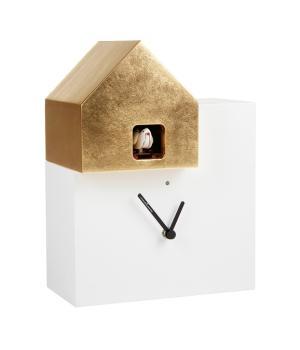 ETTORE 2057 White/Gold leaf Cuckoo Wall Clock Diamantini Domeniconi
