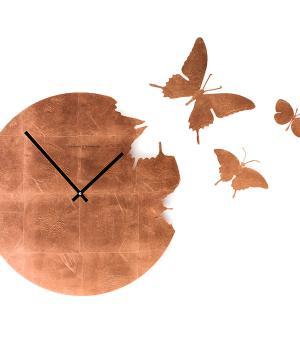BUTTERFLY Blattkupfer - Große Schmetterlings-Wanduhr + Kit mit 3 Schmetterling