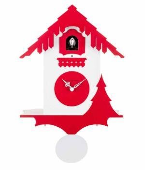 CHALET bianco e rosso Orologio con cucu' e pendolo
