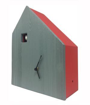 CEMENTO grau/rot Kuckucksuhr mit zement-fassade