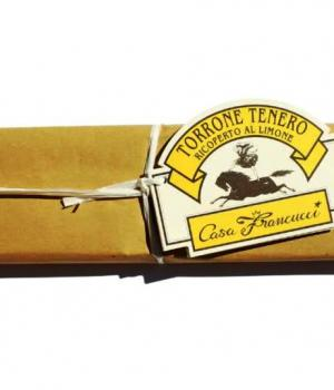 TORRONE cioccolato gusto limone Francucci Mandorlato tenero ricoperto
