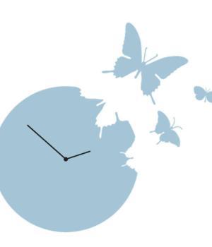 BUTTERFLY azzurro Orologio a parete + 3 farfalle da appendere al muro