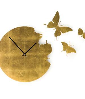 BUTTERFLY foglia oro orologio rivestito a mano da parete con kit 3 farfalle