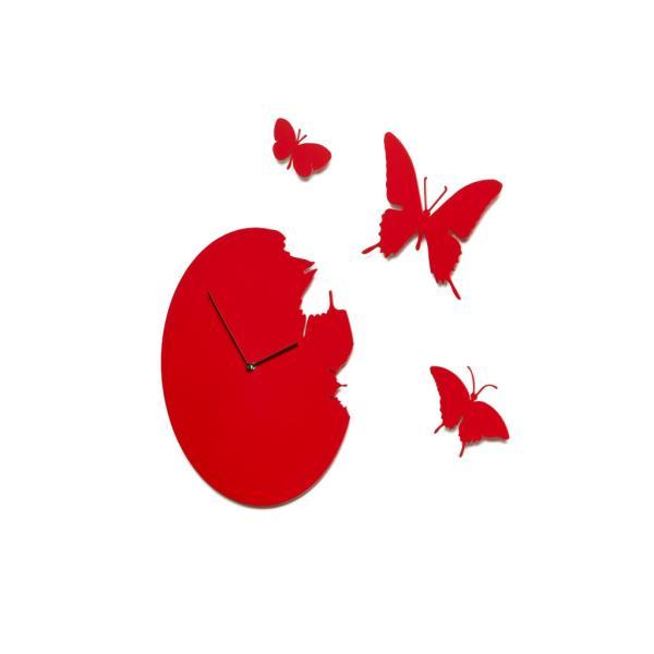 BUTTERFLY rosso Orologio a parete + 3 farfalle new brand Domeniconi