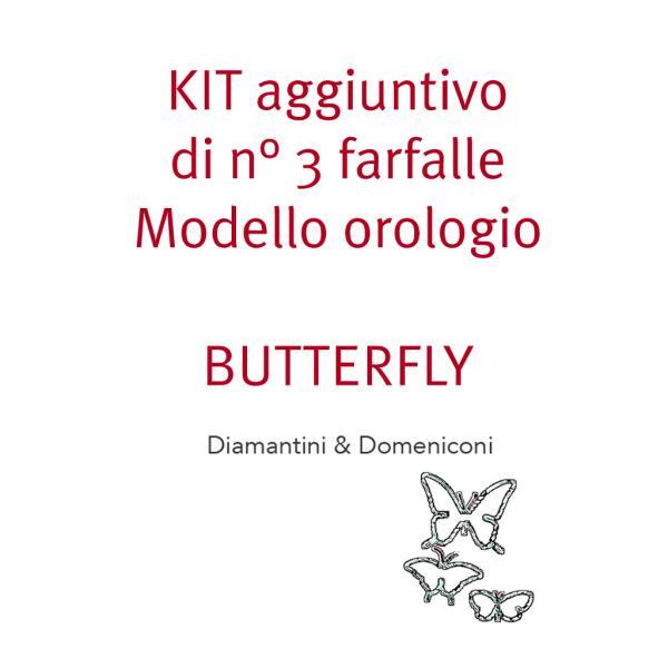 KIT di 3 farfalle dell'orologio BUTTERFLY Metallo laccato in vari colori