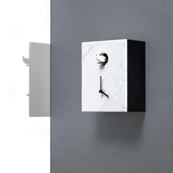 PORTOBELLO marmo bianco Carrara su cassa nera Orologio cucu da tavolo e parete