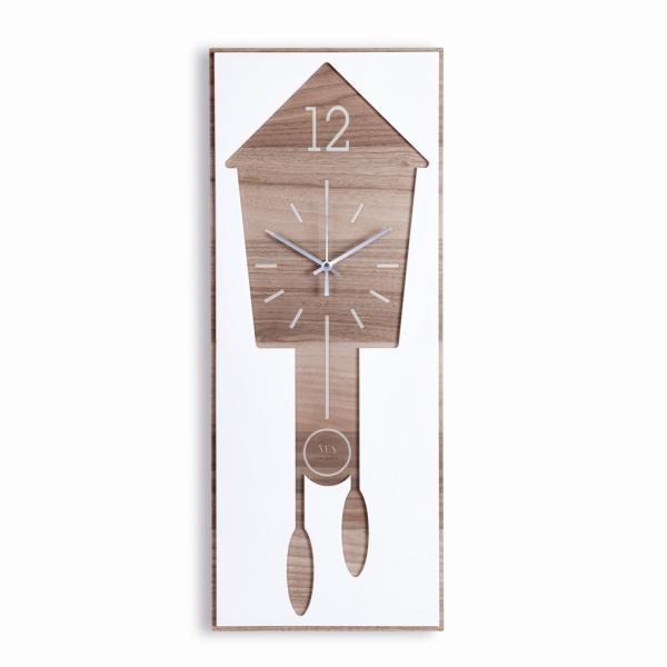 KuKù legno e Krion K-Life - VES design orologio rettangolare da parete