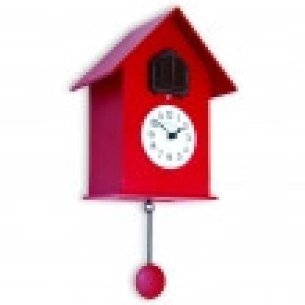 216 rosso Orologio arredo moderno con pendolo e cucu