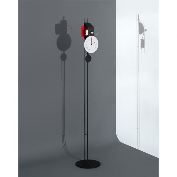 ERA rosso orologio a cucu a colonna design contemporaneo - meccanismo a vista