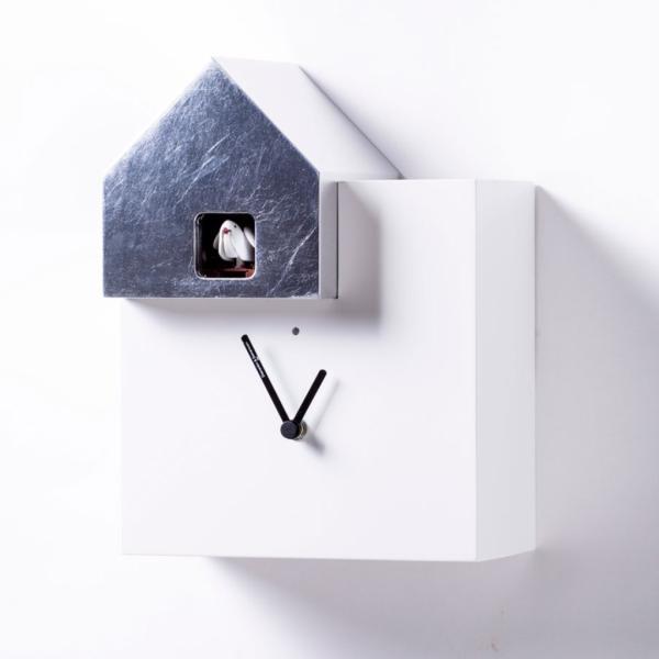 ETTORE 2057/F bianco/foglia argento Orologio da appoggio e da parete