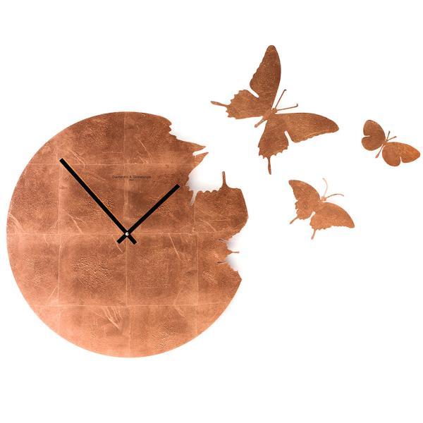 BUTTERFLY foglia rame Orologio parete kit 3 farfalle Diamantini Domeniconi