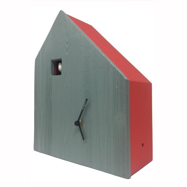 CEMENTO rosso vivo Originale costruzione minimale per un orologio a cucu